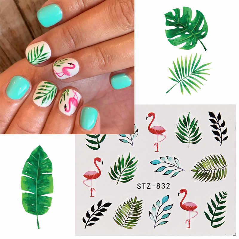 19 Desain Air Kuku Stiker Flamingo Bunga Daun Transfer Nail Art Dekorasi Slider Manikur Watermark Foil Tips