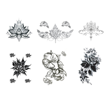 Lotus Flowers Big Temporary Tattoo Sticker Waterproof Women Girls Back Shoulder Chest Fake Tattoos 11X15cm