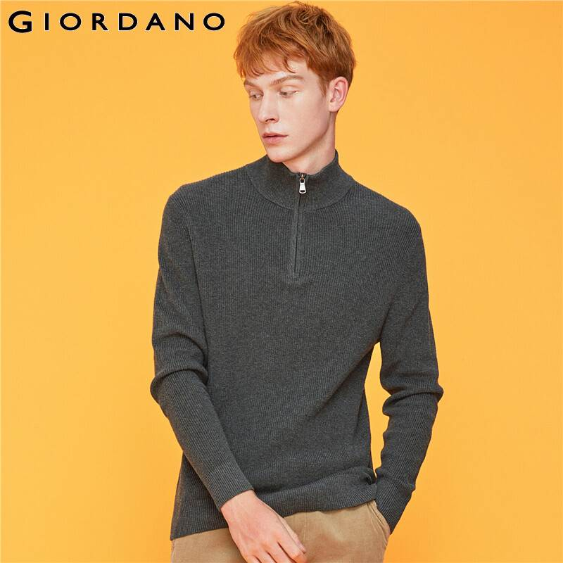Giordano Men Sweaters Mockneck Half Placket Knitted Sweater Zipper Fly Warm Contrast Blusa Masculina Inverno 01059877