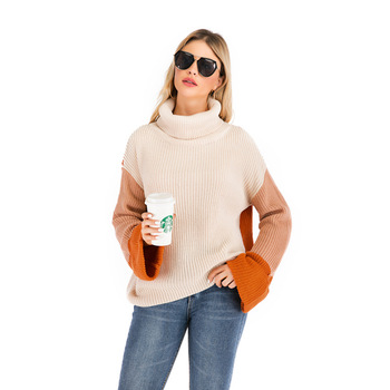 Turtleneck Sweater Woman Casual Winter Knitting Pullovers Long Sleeve Color Block Knitted Solid Jumper Women color block striped jumper
