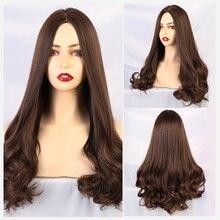 Blonde Unicorn Dark Brown Middle Part Long Wavy Wig Real Hea