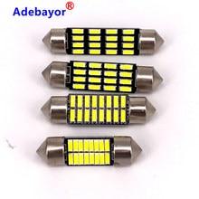 Lumières Led blanches pour intérieur de voiture, 100 pièces, 31mm 36mm 39mm 41mm 4014 16 SMD C5W, lumières intérieures de compartiment à bagages