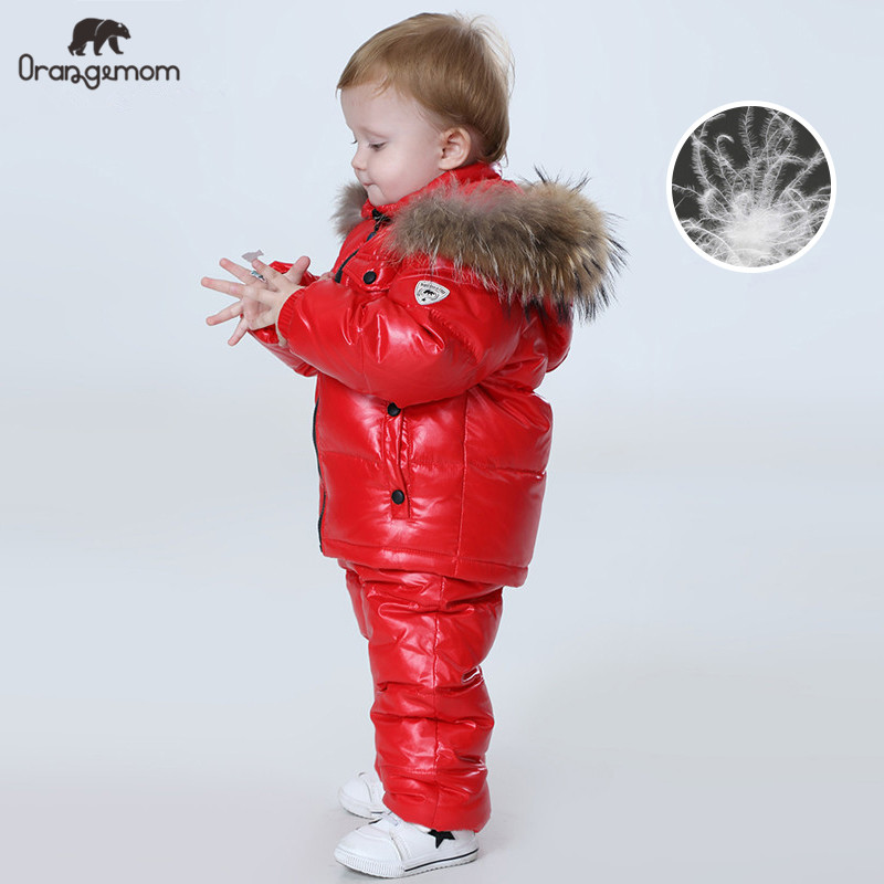 Orangemom Russia Winter children's clothing sets , girls clothes for new year's Eve boys parka kids  jackets coat down snow wear