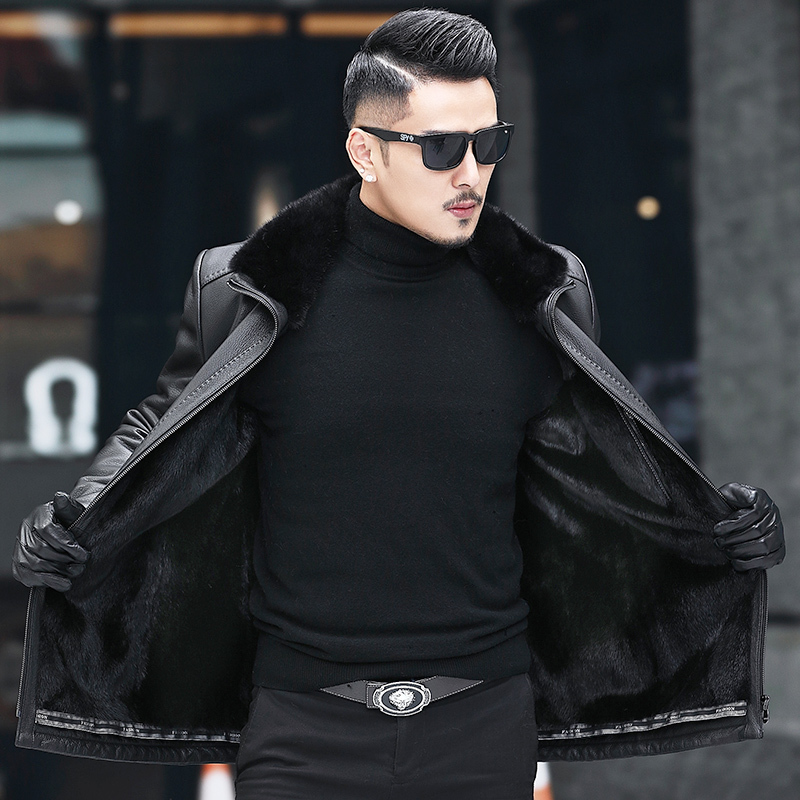 Winter Genuine Leather Jacket Men Natural Mink Fur Lining Deerskin Leather Real Fur Coat Deri Ceket A19-Z1828 KJ3816