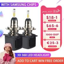 HLXG 3D 360 LED H4 H7 H1หลอดไฟ4ด้านไฟหน้ารถ15000LM SAMSUNGชิปMini H8 H11 9006 HB4 9005 HB3 Ledหลอดไฟอัตโนมัติ12V 2PCS