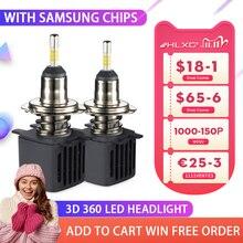 HLXG 3D 360 LED H4 H7 H1 ampuller 4 taraf araba far 15000LM SAMSUNG cips Mini H8 H11 9006 HB4 9005 HB3 led oto lamba 12V 2 adet