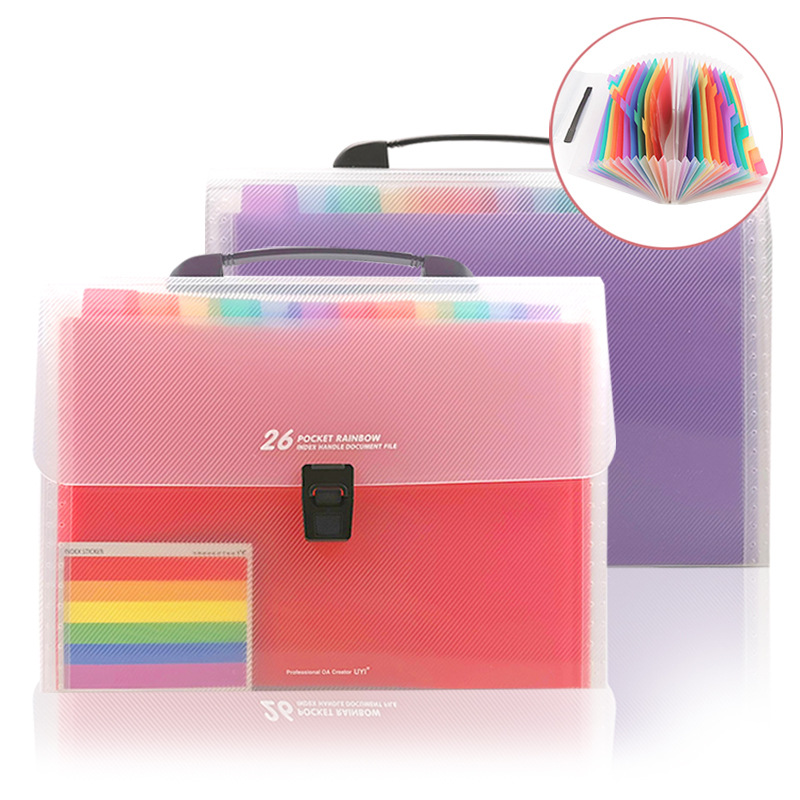 A4 Portable File Storage Bag Expanding File Folder 26 Pockets Accordion Folder Organizer Documents Bag