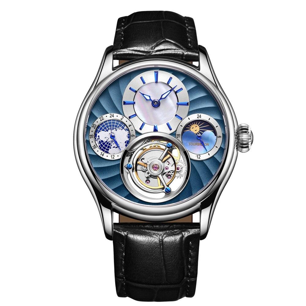 Relojes Guanqin Real Tourbillon Mechanical Watch Men Mens Watches Top Brand Luxury Skeleton Watch Clock Man Relogio Masculino