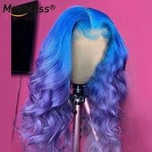 13x4 ombre peruca de cabelo humano remy brasileiro azul roxo peruca glueless preplucked vermelho frente do laço perucas de cabelo humano para preto