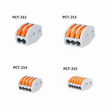 Type 10pcs 222-412(PCT212)/413/415 Universal Compact Wire Wiring Connector Conductor Terminal Block With Lever 0.08-2.5mm2