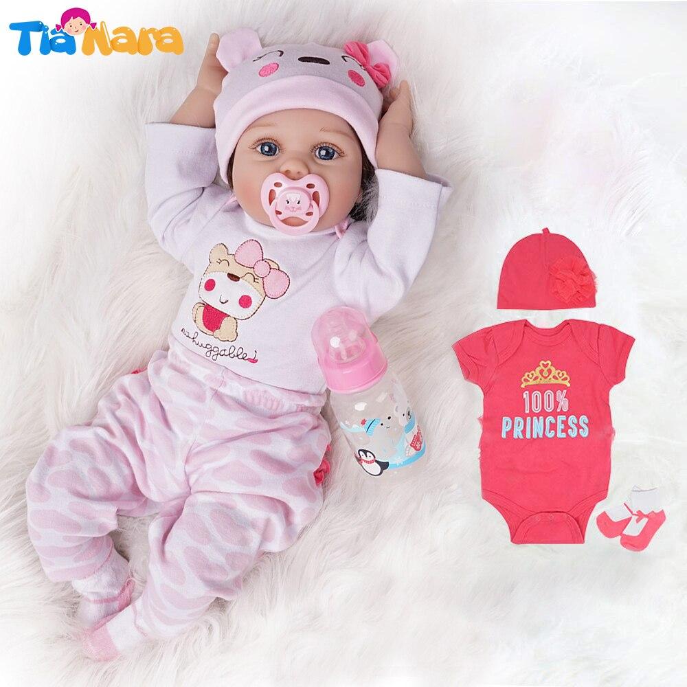 55cm Reborn bébé poupée fille 2 tenues Silicone vinyle nouveau-né rose clair et rose foncé