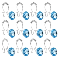 Shower Curtain Hook Ring Acrylic Double Shower Curtain Ring Stainless Steel Rust Double Sliding Shower Hook Shower Rod Curtain a|Hooks & Rails| |  -