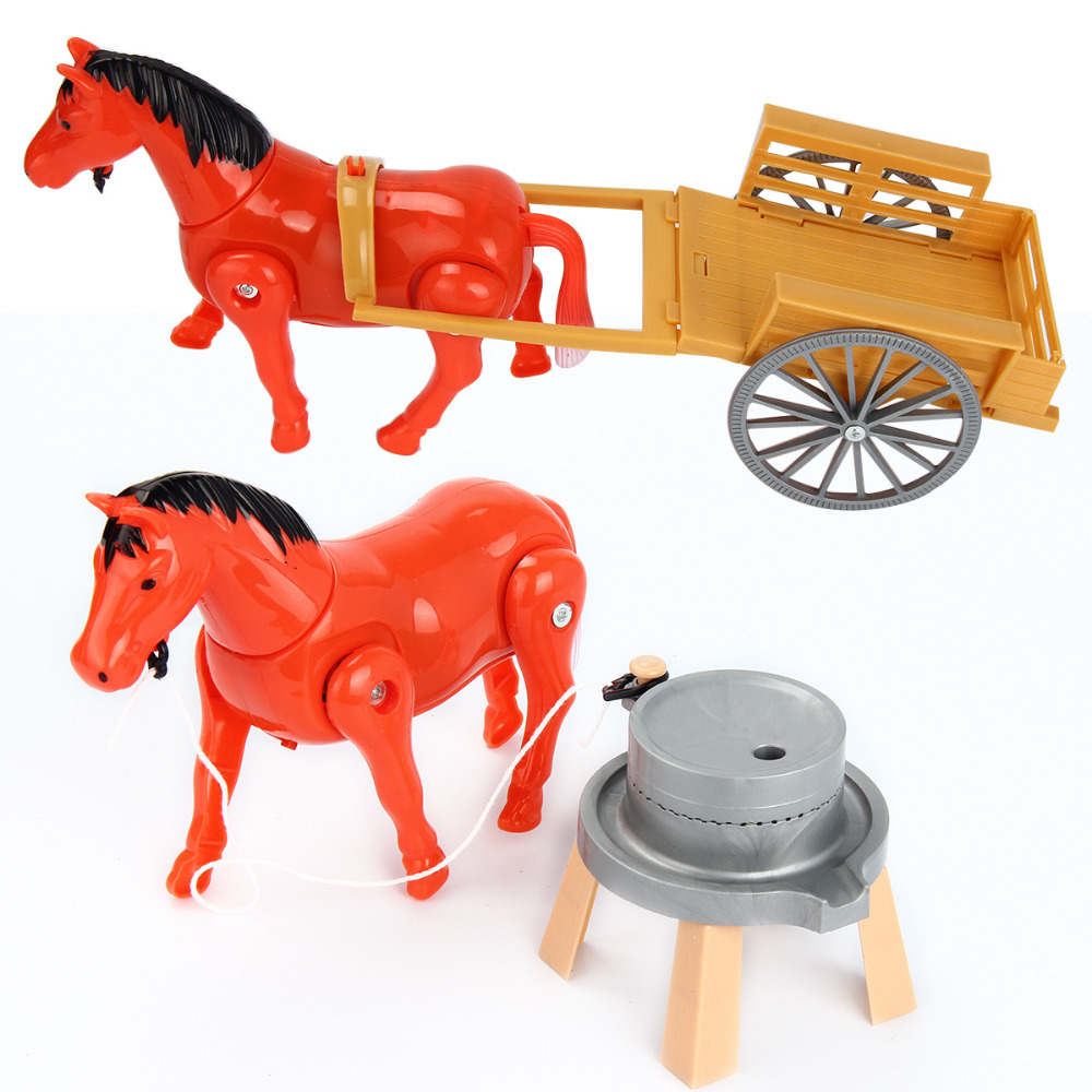 Electric Horse Pony Rotating Toy Around The Pile Developmental Gift White Red Colors Electronic Pets For Kids