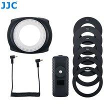 JJC DSLR caméra Flash vidéo Speedlite à lintérieur à lextérieur demi entier LED Macro lumière annulaire pour NIKON CANON SONY Fuji Olymous Panasonic