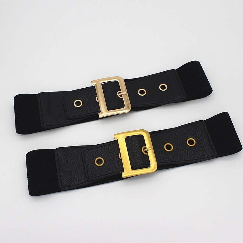 Black Leather Belt Woman Waist Corset Belts For Women Gold Buckle Luxury Brand Cinturon Mujer D Belt Elastic Wide Cummerbunds