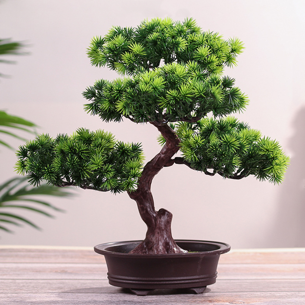 Artificial Green Plant Bonsai Potted Simulation Pine Tree Home Office Decorative