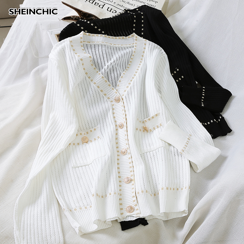 Autumn 2019 Vintage Single Breasted Women Sweater Casual Long Sleeve White/Black Cardigans Elegant V-neck Knitted Blouse Tops