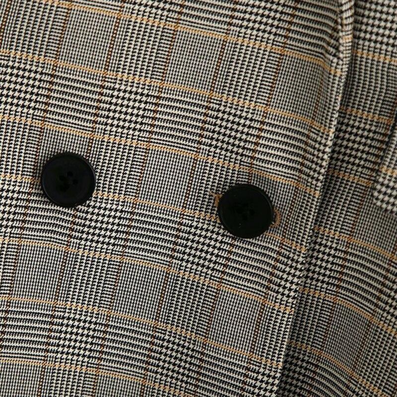 Spring Autumn Women Vintage Plaid 2 Pieces Set Elegant Office Blazer Jacket Coat+Zipper Pants Suit Female Loose Trousers Outfits