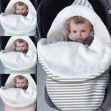 Новое поступление; вельветовое Пеленальное Одеяло в полоску из овечьей шерсти для новорожденных; зимний теплый спальный мешок для малышей