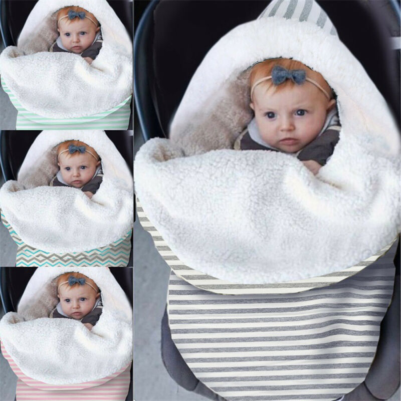 New Arrival Newborn Baby Stripe Lamb Velvet Swaddle Wrap Swaddling Blanket Winter Warm Babies Kids Sleeping Bag