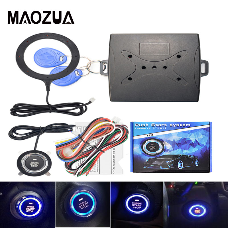Auto Car Alarm One Start Stop Button Engine Start Push Button RFID Lock Ignition Switch Keyless Entry System  Anti-theft System