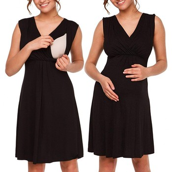 Ladies Maternity Dress Sleeveless Layered Nursing Dresses For Breastfeeding Comfy  Casual Clothes Summer Dress layered flounce trim dress