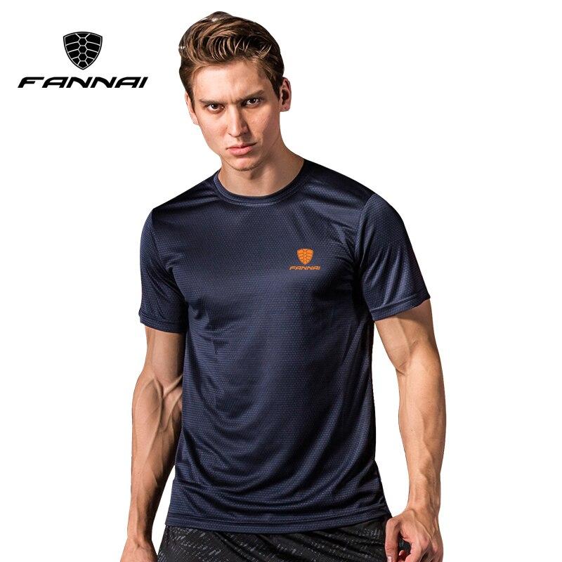 Correndo t camisa para os homens de secagem rápida fannai respirável esportes andando fitness crossfit ginásio exercício pesca manga curta solta