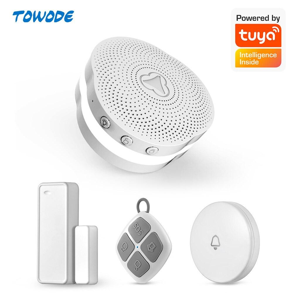 Towode 433mhz Tuya APP Smart Home Multifunctional  Intelligent Night Light Bell WiFi Gateway Alarm System