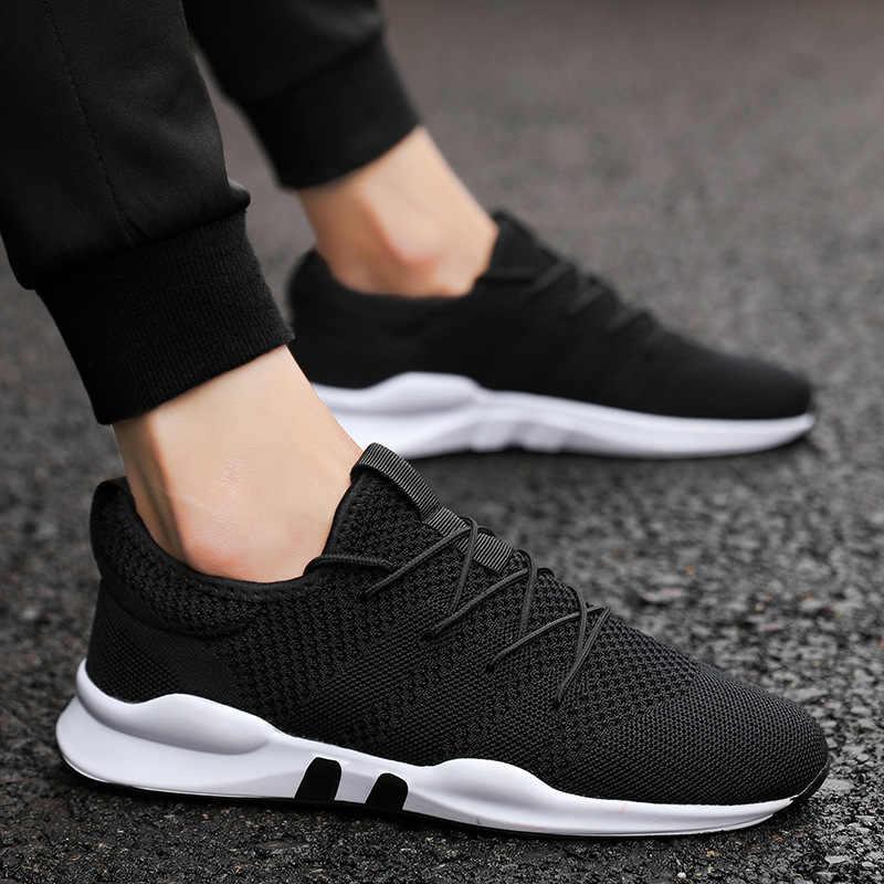 Yeni erkek koşu ayakkabıları moda rahat erkek spor ayakkabı örgü Lace Up nefes erkek ayakkabısı rahat hafif Unisex spor ayakkabı
