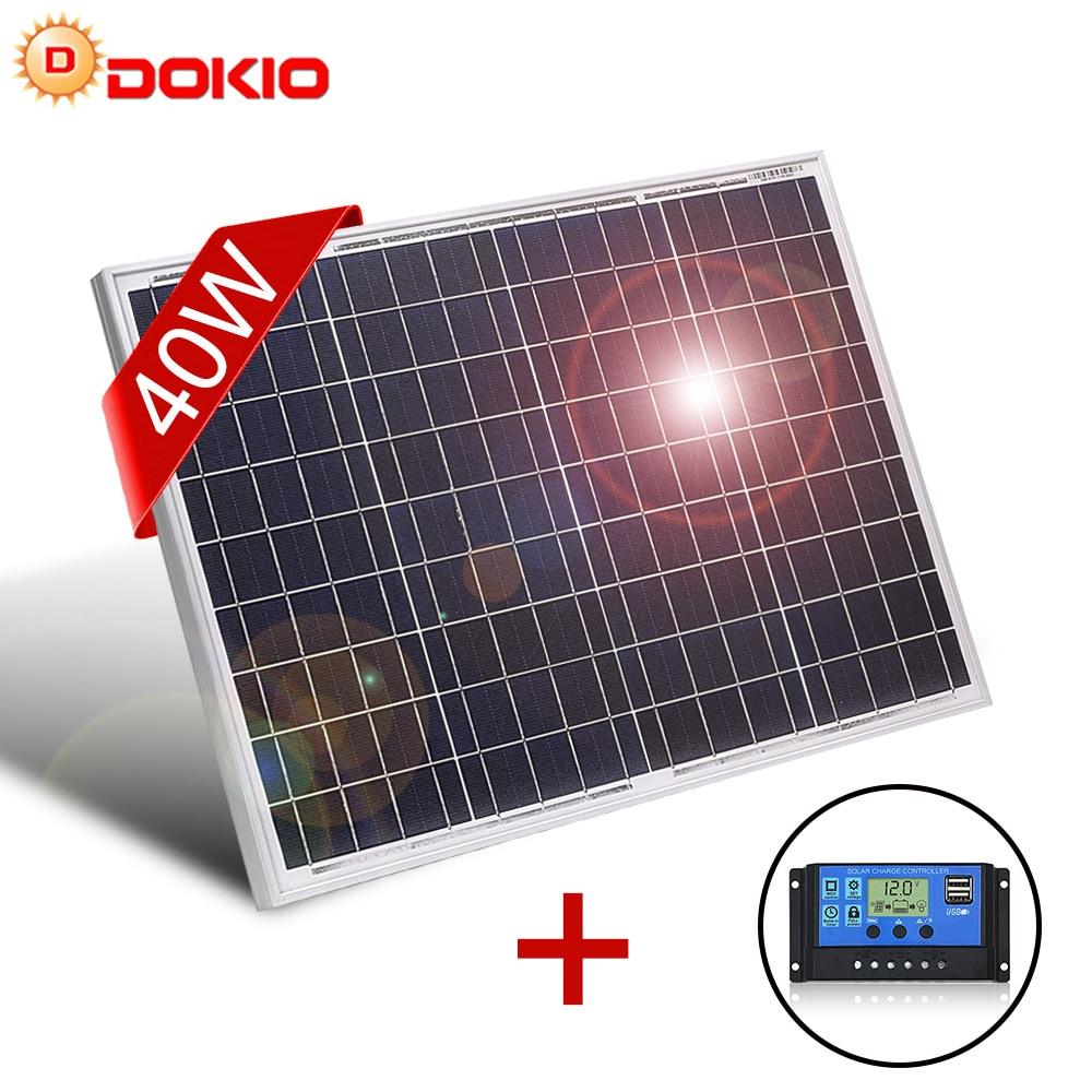 DOKIO 18V 40W Панели солнечные кремния Мощность поликристаллический кремний углублённые встраиваемые Одежда высшего качества китайская солнеч...