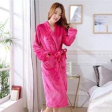 Long-Sleepwear Bathrobe-Gown Flower Kimono Night-Dress Oversize Home-Clothing Print Coral-Fleece