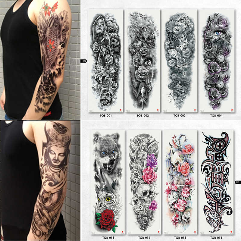 New 4 Sheets Large Temporary Tattoos Sticker Men Arm Sleeves