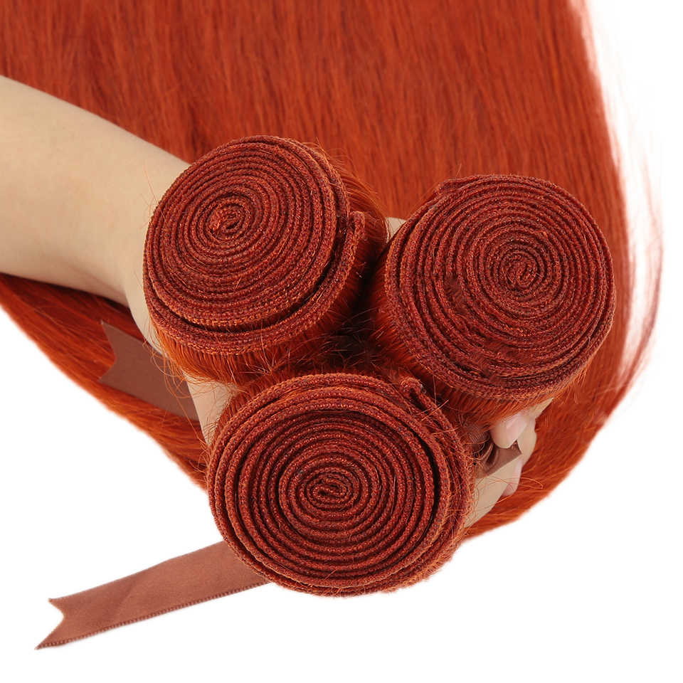 خصلات مستقيمة برتقالية أنيقة مع حزم شعر برازيلي للإغلاق 8-28 شعر بشري ريمي 3/4 خصلة بإغلاق
