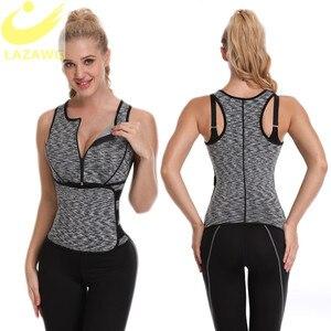 Image 4 - LAZAWG Vrouwen Sauna Zweet Neopreen Top Taille Trainer Body Shaper Hot Thermo Vest Afslanken Shapewear Shirt Zweet Sport Shirt