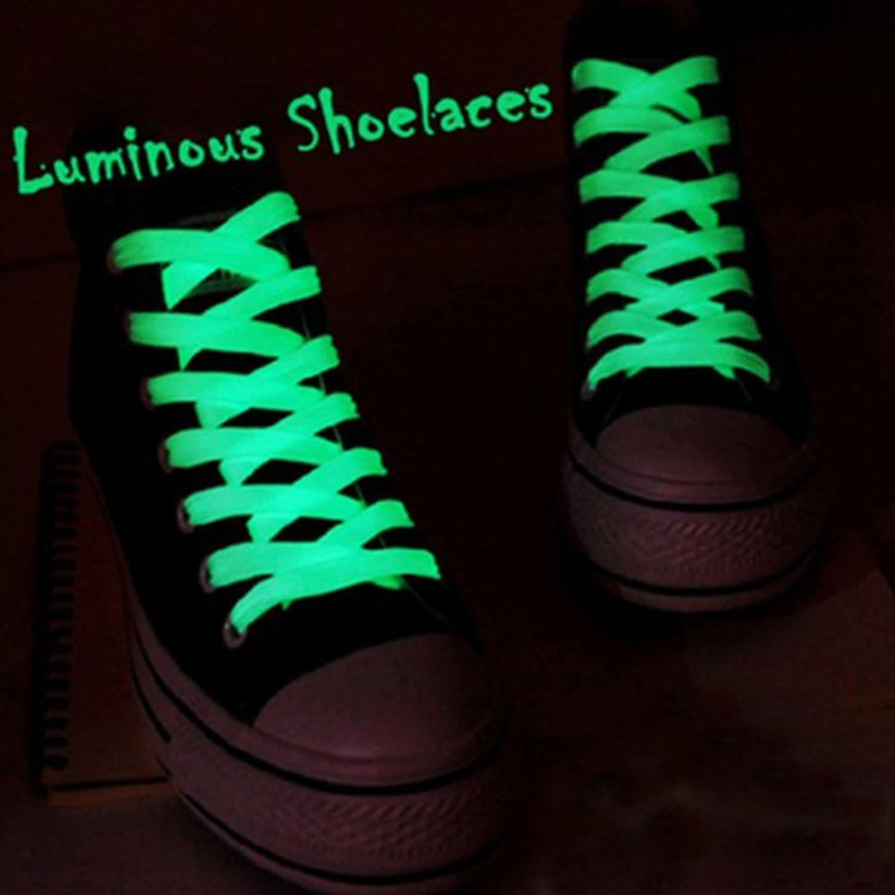 1 Pair Luminous Shoelaces Athletic Sport Flat Canvas Shoe Laces Glow In The Dark Night Color Fluorescent Shoelace