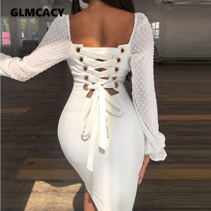 Women Dots Mesh Splicing Lace-Up Back Bodycon Dress Puff Sleeve Square Neck Plain Sexy & Club Sheath Slim Fit Solid  Party Dress