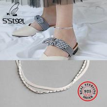 S'STEEL 925 Sterling Silver Anklets For Women Double-deck Anklet Concise Chaine De Cheville Bracelet Femme Leg Barefoot Jewelry