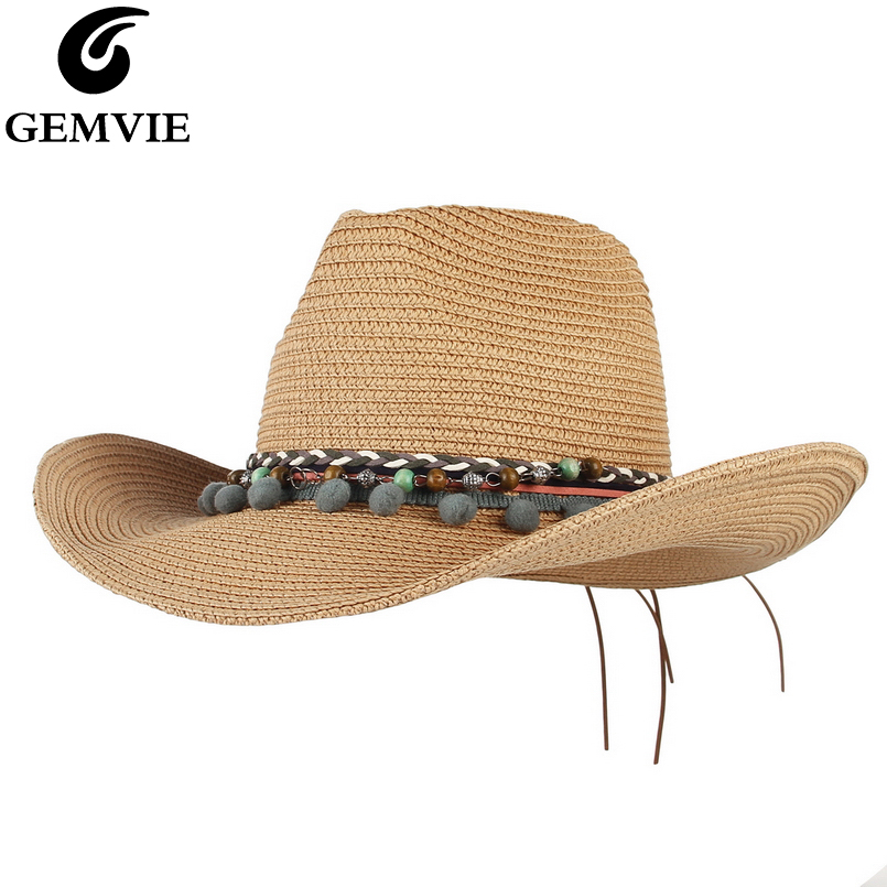 GEMVIE Summer Hats For Women Outback Straw Hat For Men Western Cowboy Hat Panama Sun Beach Cap 2020 New