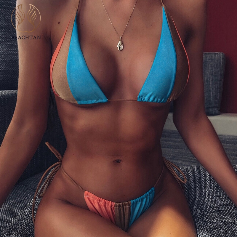 Peachtan Snake Print Bikini 2019 Micro Halter Brazilian Swimsuit Female Sexy Swimwear Women Bathing Suit Biquini Summer Swimming