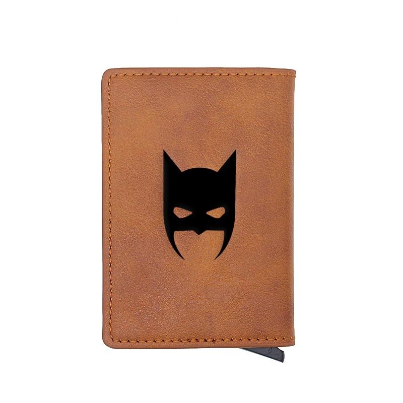 Retro Classic Batman Head Design Card Holder Wallets Men Women Boy Rfid Leather Short Purse Slim Mini Wallet Small Money Bag