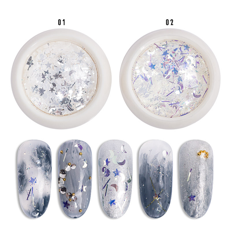 Online Celebrity Douyin Hot Selling Goblin Pupil Moon And Stars Five-pointed Star Silvery White Super Shiny Fingernail Decoratio