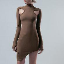 2020 модное вязаное мини платье с длинным рукавом вырезами в