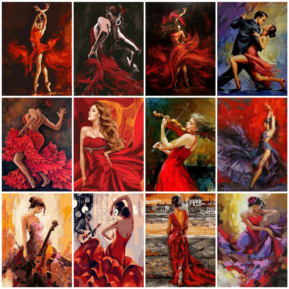 HUACAN Oil Painting By Numbers Girl DIY Pictures By Number Drawing On Canvas Hand Painted Paintings Dance Home Decoration