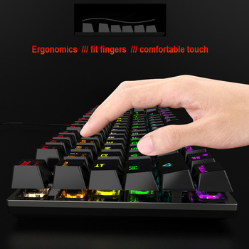 Gaming Mechanical Keyboard With LED Backlight USB Wired Keyboards Luminous Blue Swich for PC Laptop Russian Sticker 4