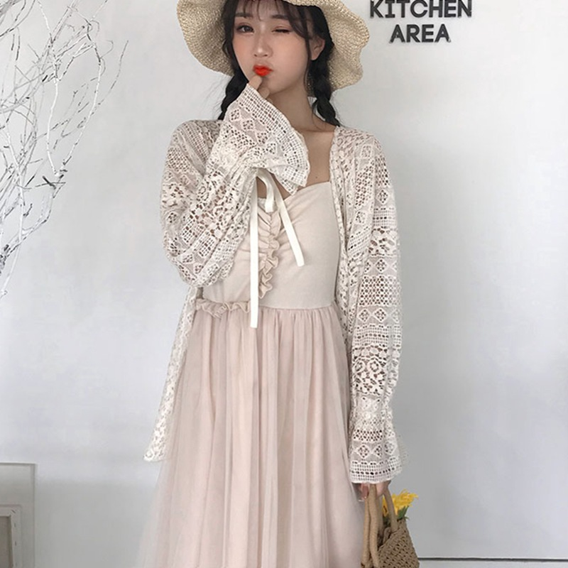 Flare Sleeve Cover Ups Blouse Fashion Summer Sweet Lace Shawl Kimono Cardigan Women Ladies Women Blouse blusas Plus Size