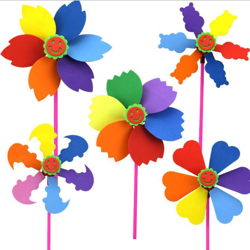 EVA Windmill DIY Cartoon Handicrafts Toys For Children Handmade Pinwheel Craft Animal Puzzle Paper Tray Creative Education Toy