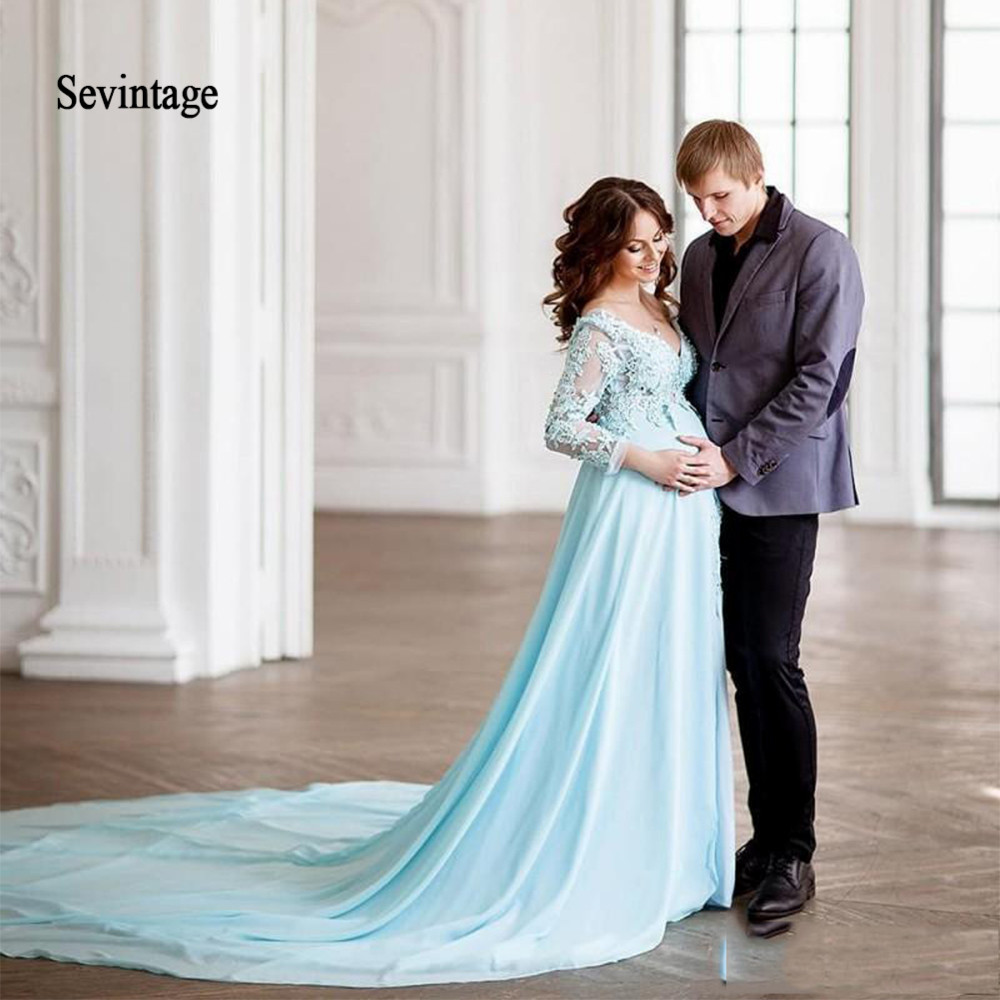Sevintage Modest A Line Empire Maternity Evening Dress V Neck Long Sleeve Prom Gowns Lace Chiffon Party Dress Long Train
