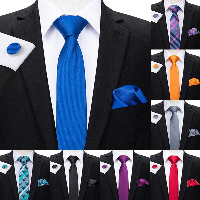 Hi-tie gravatas estreitas masculinas, 6cm, finas, cor sólida, xadrez e cor hanky conjunto de abotoaduras para homens, festa, casamento, gravata skinny,