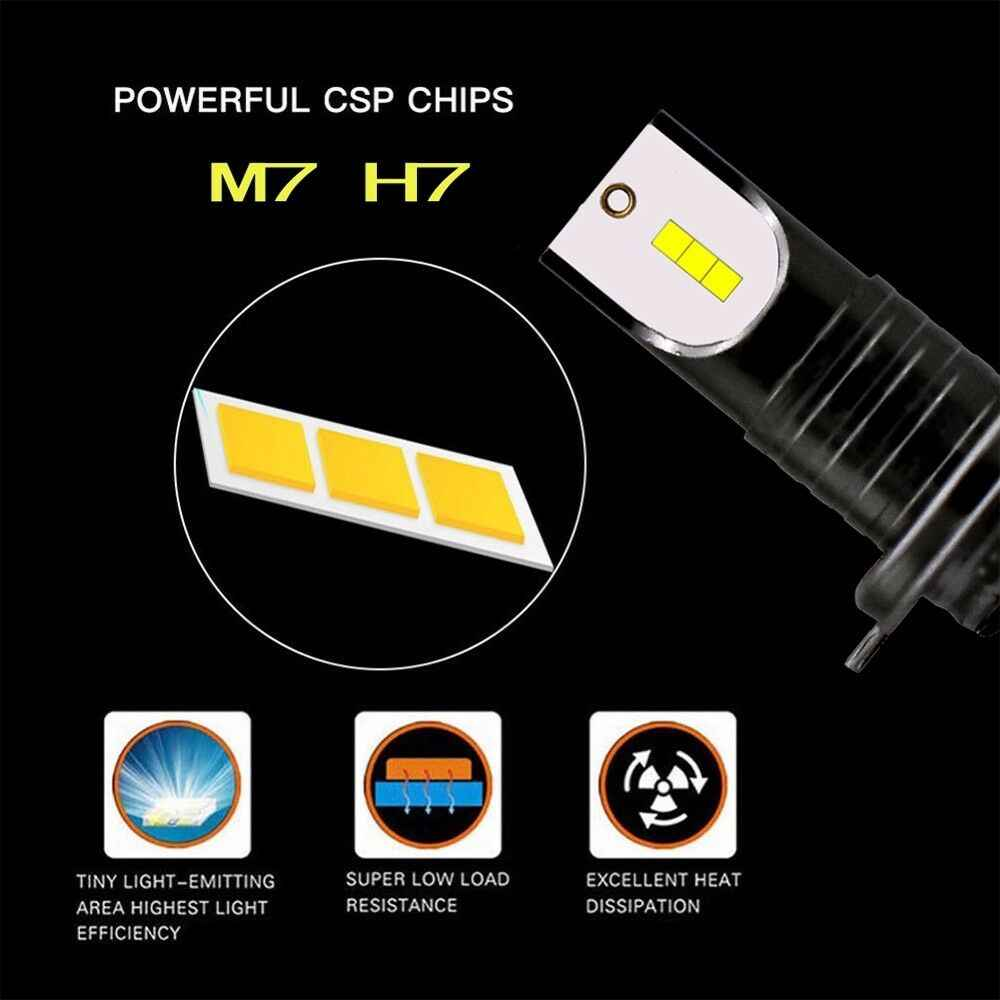 2x DC 9-32V H7 CSP светодиодный Лампа переднего света комплект высокого/ближнего света 110W 6000K белый