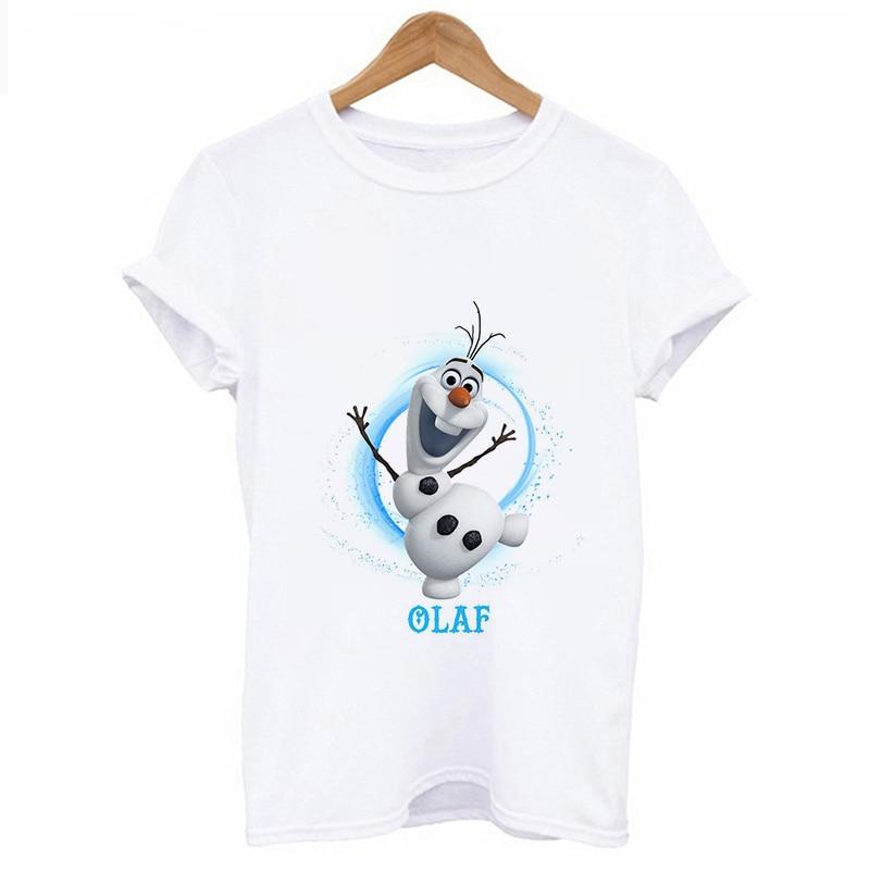 Lus Los   Cute Magic Snowman Tshirt Female Tops Clothing Frozen Printed T Shirt Women Fashion Harajuku Short Sleeve T-shirt